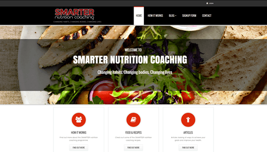 Website for Smarter Nutrition Coaching -nutritioncoaching.co.nz - HTML5 - CSS3 - Javascript - DRUPAL
